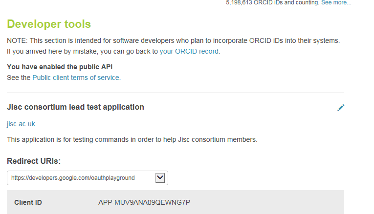 Screenshot of developer tools activation for ORCID