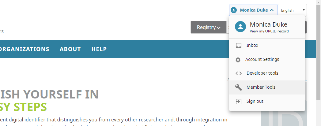 Screenshot showing Menu in Orcid record where member tools option is