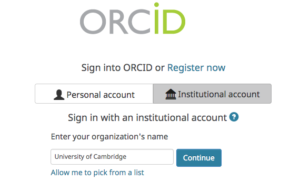 Picture of Sign in screen for ORCID for the University of Cambridge